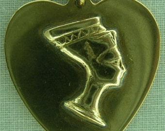 Egyptian Queen Nefertiti HEART Pendant 10k Gold - Beautiful and Unusual