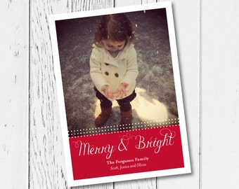 Merry and Bright Printable Holiday Photo Card