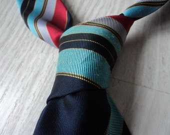 Vintage  Rael Brook navy striped tie.(00673)