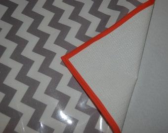 Non Slip Grey Chevron Print  with Orange Trim Messy Mat