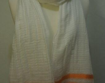 Ethiopian 100% Handwoven Sheer White Cotton Shawl with Triple Orange and Cream Stripes