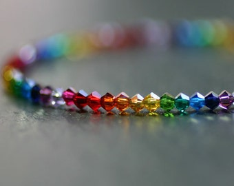 Rainbow bracelet;Rainbow;Beaded bracelet;Swarovski bracelet;Swarovski;Friendship bracelet;Crystal bracelet; Swarovski crystals;Silver,925