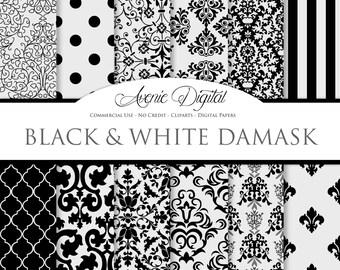 Black Damask Digital Paper. Scrapbooking Backgrounds, black and gray patterns for Commercial Use. damask digital paper. Instant Download.