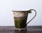 Ceramic Cup, Tea Cup, Green cup, Ceramic and Pottery, Coffee Cup, Coffee Mug  ,Handbuilding Techniques, handpainted