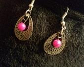 Pink pearl earring