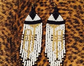 Trumpet earrings/Seed bead earrings