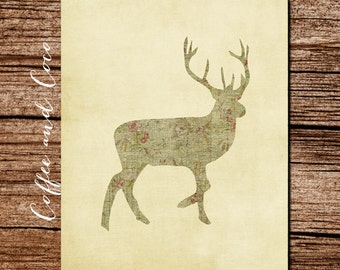 Deer Poster, Rustic Deer Printable, Cabin Wall Art, Printable Wall Decor, Digital Download, Deer Print, Deer Decor, Deer Art, coffeeandcoco