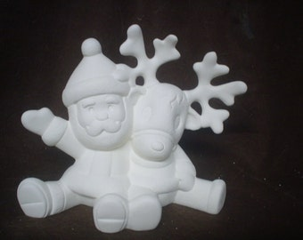 Ceramic Bisque 6 1/2 Inch Cuddle Santa and Reindeer Figurine - Unpainted Ready to Paint - E602