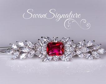Bridal red Hair clip, Swarovski Wedding Hair Accessory, Wedding jewelry, rhinestones, Hair Clip, Wedding jewelry Vintage. hc10