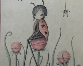 Ladybug and Stars - Original drawing
