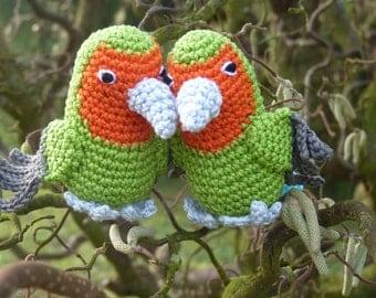 Amigurumi Lovebird, crochet parrot, peach-faced lovebird