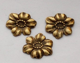6pcs--Flowers, Metal Stampings, Antique Brass, 16x18mm (B10-10)