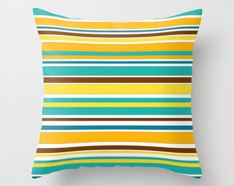 Striped Pillow Cover, Colorful Pillow, Teal and Yellow Pillow Designer Couch Pillows Decorative Throw Pillows, Bright Pillows, Many sizes