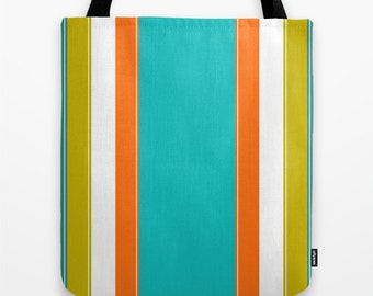 Turquoise Tote Bag, Teal Tote, Orange Tote, Beach Tote, Striped Tote Bag, Gift for Her, Unique Tote, Girls Tote Bag Shopping Bag Canvas Tote