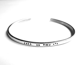 Silver bracelet personalized man, with message, adjustable