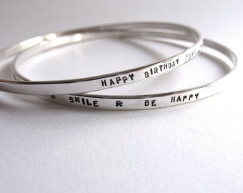 Silver Bracelets personalized, ring tandem responding across a serious message