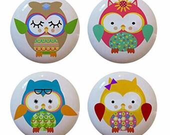 Cute Ceramic Owl Knobs Set of 4