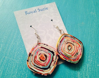 Recycled/Upcycled Magazine Paper Earrings ~ Colorful Boho Earrings