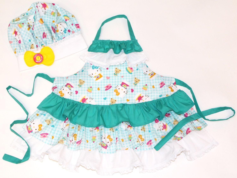kid 39 s apron and chef hat set little girl 39 s apron. Black Bedroom Furniture Sets. Home Design Ideas