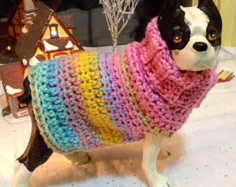 Pink Maggie May, Pink Dog Sweater, Striped Dog sweater, knit dog sweaters, knitted dog sweaters, yellow dog sweaters, pink dog sweaters