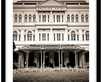 Raffles Hotel, Singapore - Black and White Fine Art Photograph printed on 308gsm Hahnemuhle fine art paper (Unmatted)