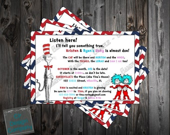 Cat in the Hat Baby Shower Invitation Printable