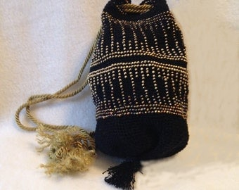 Black and gold crocheted, beaded bag