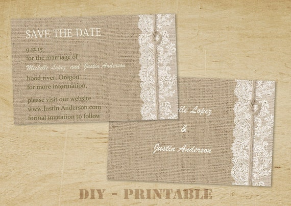 Items similar to save the date postcard printable save the date wedding template rustic for Rustic save the date templates free