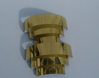 Vintage Three Tiered Brass Art Deco Wall Sconce