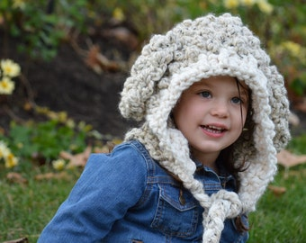 Crochet Lamb Hat with Braided Ties for Toddler 2T-4T