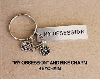 My Obsession Bar With Bike Charm.  Love To Bike.  Obsessed With Biking.  Bike.  Mountain Biking.  Road Biking.