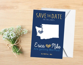 Save the Date, State Save the Date Postcard, Destination Wedding, Wedding Invitations, Washington, Stationery, State Map