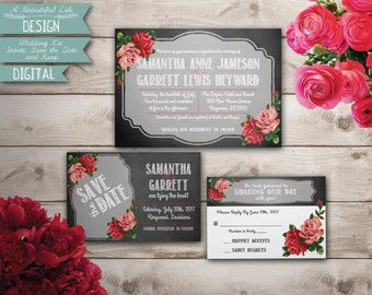 Printable Wedding Kit - Chalkboard and Roses - Digital File - Invite, Save the Date, RSVP Card - Customizable