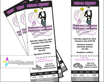 Wedding Ticket Invitations, Set of 12
