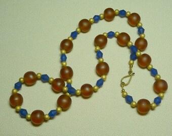 Cobalt amber gold necklace
