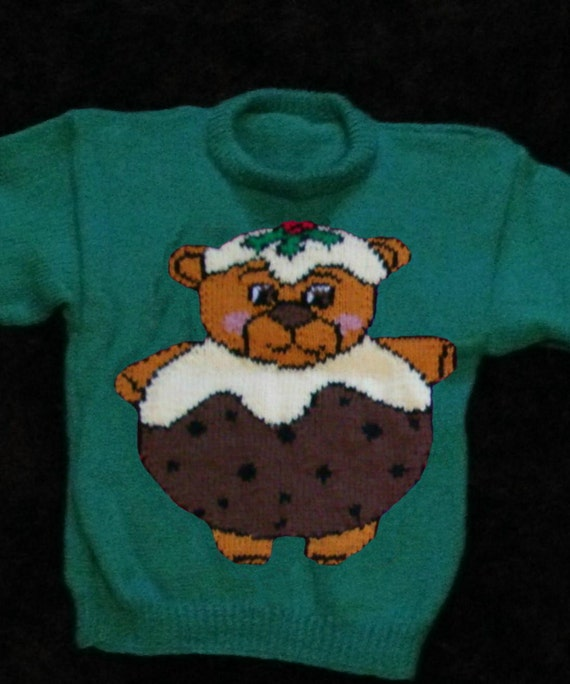 Knitting Pattern For Christmas Pudding Jumper : Childrens & Adults Christmas Pudding Teddy Bear Jumper / Sweater Knitting...