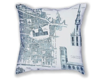 VINTAGE LONDON MAP pillow cover, 18 inch decorative pillow, old London map pillow, map cushion cover, map throw pillow, 45cm cushion