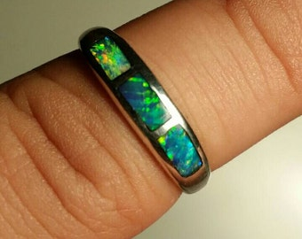 Natural Andamooka Crystal Opal inlay Sterling Silver ladies ring