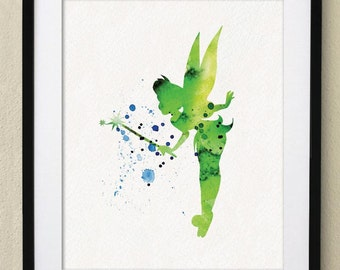 Peter Pan Tinker Bell Watercolor Painting Nursery Art Wall Art Wall Decor Art Home Decor