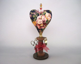 Heart Pincushion with Roses and Charms