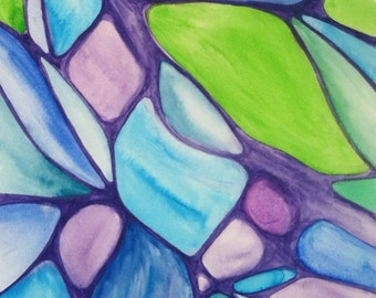"""Abstract Original Watercolor Painting, """"Purple Stained Glass,"""" Purple, Green, Blue. 8.5x11"""