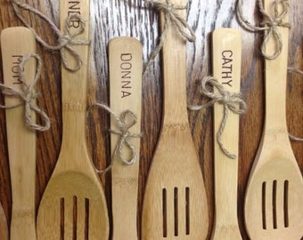 Unique Personalized Primitive hand stamped spoon or spatula grandmas gift baking basket Christmas gift housewarming gift primative look