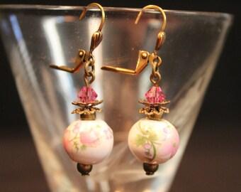 Pink Floral Porcelain Bead Earrings