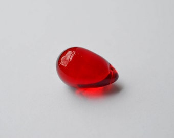 2pc Red Czech Glass Focal Drop Bead, Handcrafted Glass Pendant 25 x 16 mm