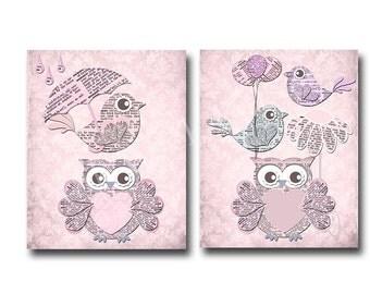 Baby girl nursery wall art, baby shower gift classic nursery kids room decor baby girl room decor, pink bird owl nursery children room decor