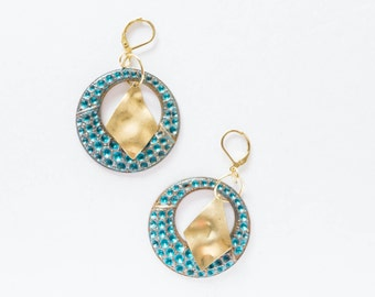 Clearance SALE Large Hoop Earrings with Raw Brass Dangle Gypsy Boho Bohemian Jewelry Statement Funky