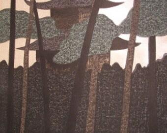 """Kiyoshi Saito Woodblock Print """"Kinkaku-Ji, Kyoto"""""""