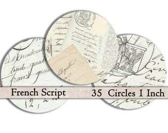 Shabby Chic French Script 1 inch circles bottle cap images digital collage sheet printable ephemera