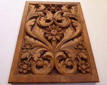Woodcarving Wooden Flowers Wood Art Wall Hanging Home Decor Woodcraft Woodworking Dark Color 13,39 x 18,11″ MADE TO ORDER