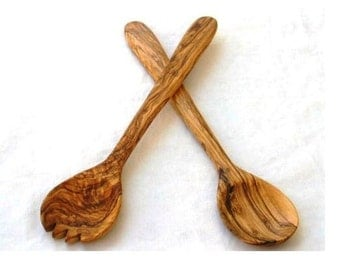 Christmas gift / present - Olive wood Salad servers 11.80""